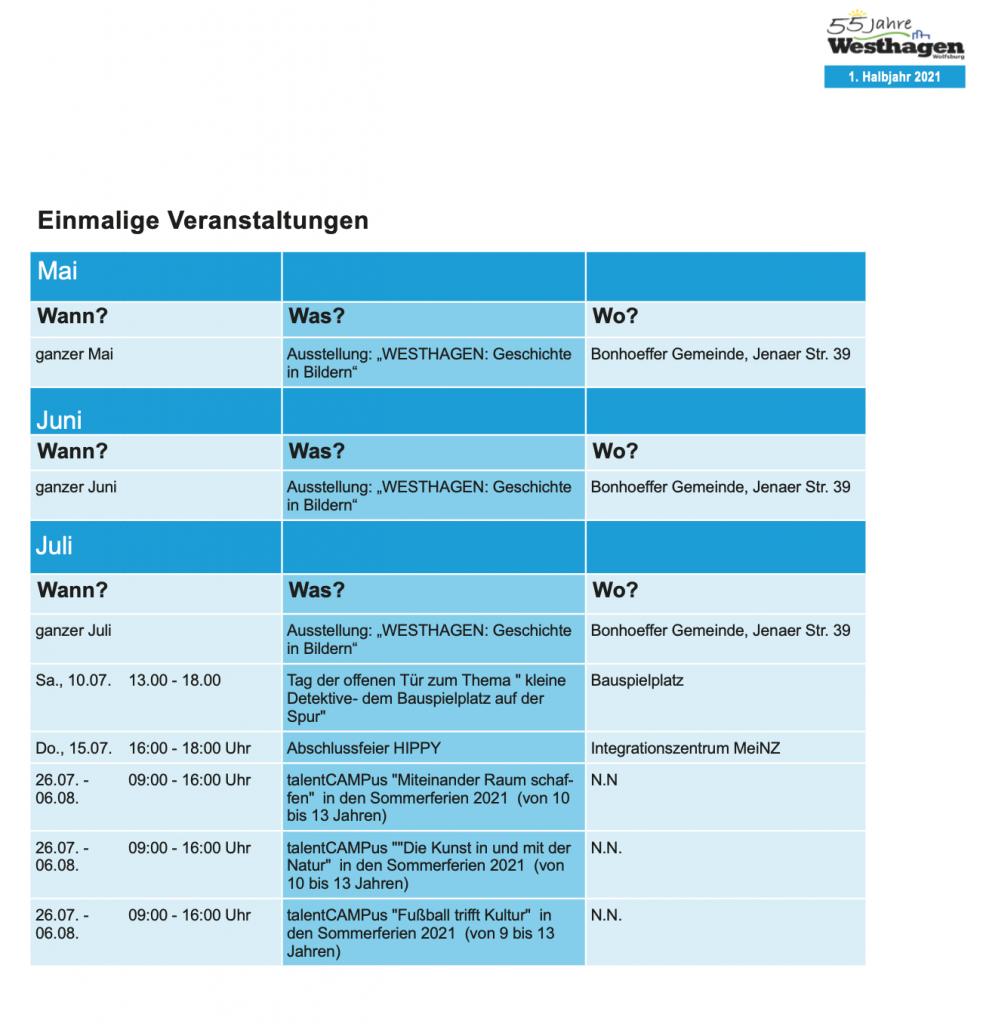 Einmalige Veranstaltungen 1. Halbjahr Westhagen