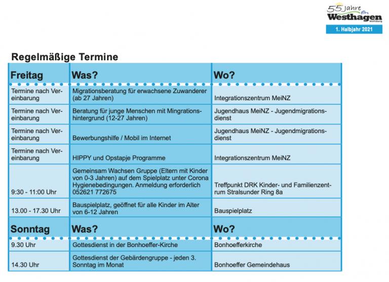 Regelmässige Veranstaltungen 1. Halbjahr Westhagen 2